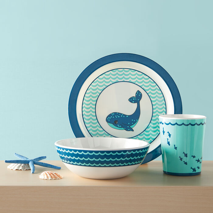 """3-pc. Reed and Barton """"Mystic Sea"""" Navy and Turquoise Whale Child's Dinnerware Set, , default"""