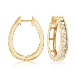 C. 1990 Vintage 1.65 ct. t.w. Diamond Oval Hoop Earrings in 14kt Yellow Gold, , default