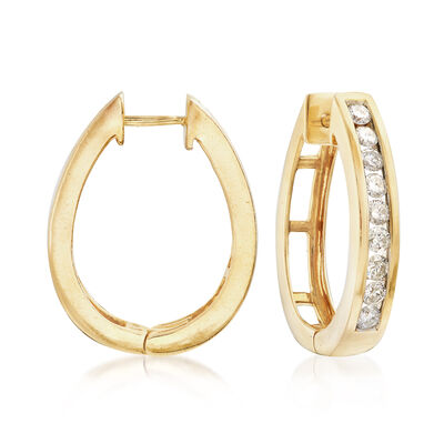 C. 1990 Vintage 1.65 ct. t.w. Diamond Oval Hoop Earrings in 14kt Yellow Gold, , default