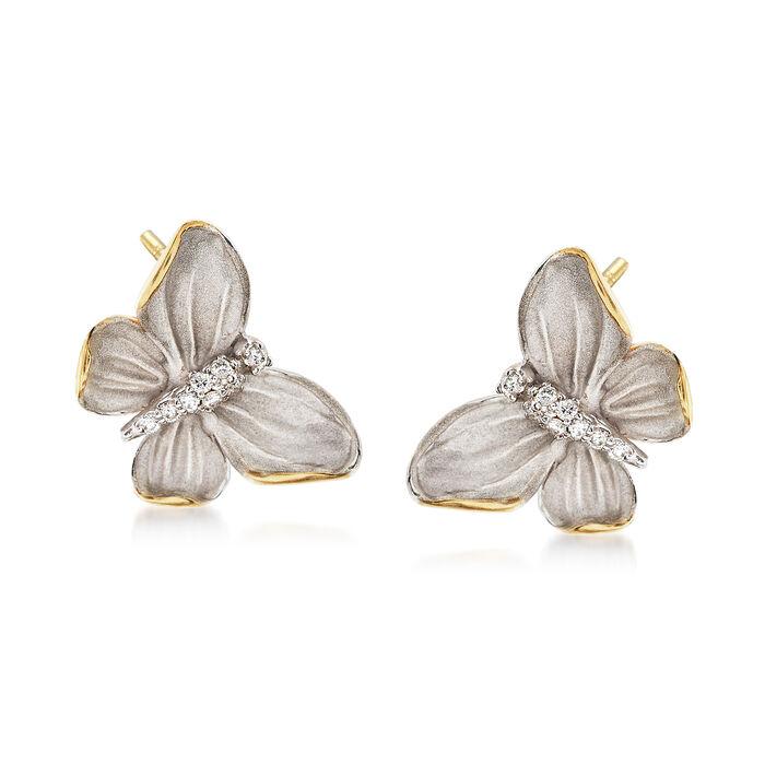 Simon G. .10 ct. t.w. Diamond Butterfly Earrings in 18kt Two-Tone Gold