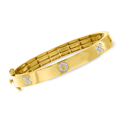 .14 ct. t.w. Diamond X/O Bangle Bracelet in 18kt Gold Over Sterling