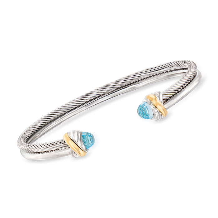 "Phillip Gavriel ""Italian Cable"" .80 ct. t.w. Blue Topaz Cuff Bracelet in Sterling Silver and 18kt Yellow Gold"