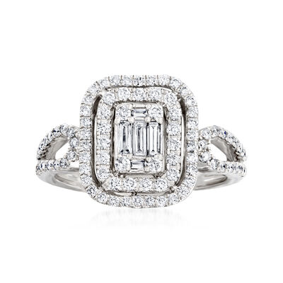 .75 ct. t.w. Baguette and Round Diamond Ring in 14kt White Gold