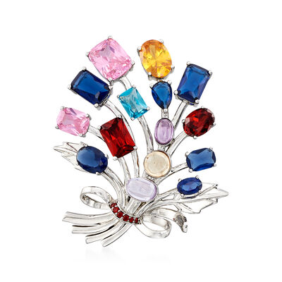 Multicolored CZ Flower Spray Brooch in Sterling Silver, , default