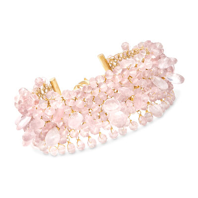Rose Quartz Mesh Bracelet in 18kt Yellow Gold Over Sterling, , default