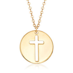 Italian 14kt Yellow Gold Cross Cutout Disc Pendant Necklace, , default