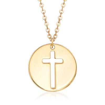Italian 14kt Yellow Gold Cross Cutout Disc Pendant Necklace, , default
