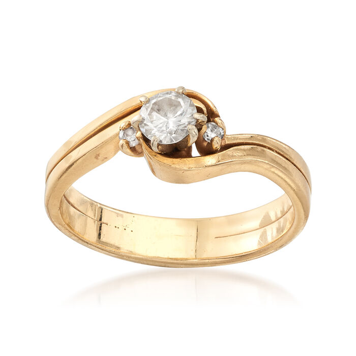 C. 1990 Vintage .55 ct. t.w. Diamond Wavy Ring in 14kt Yellow Gold. Size 8, , default
