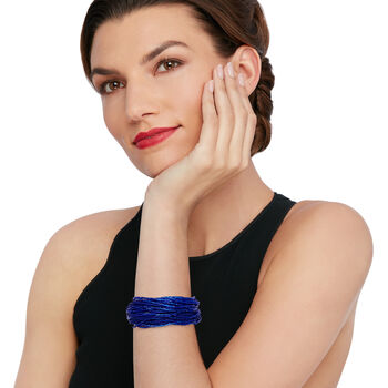 Italian Blue Murano Glass Bead Torsade Bracelet with 18kt Gold Over Sterling