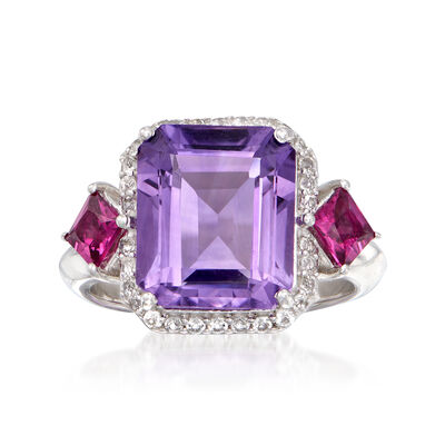 5.00 Carat Amethyst and .80 ct. t.w. Multi-Gem Ring in Sterling Silver, , default