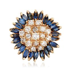 C. 1970 Vintage 2.40 ct. t.w. Sapphire and 1.10 ct. t.w. Diamond Floral Cluster Ring in 14kt Yellow Gold, , default