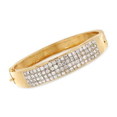 C. 1980 Vintage 4.80 ct. t.w. Pave Diamond Bangle Bracelet in 14kt Two-Tone Gold, , default