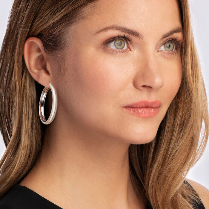 Italian Sterling Silver Textured Hoop Earrings