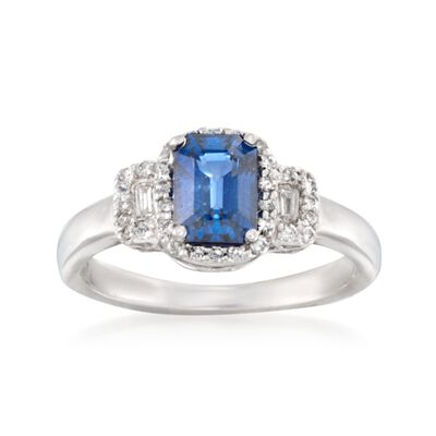 1.15 Carat Sapphire and .20 ct. t.w. Diamond Ring in 14kt White Gold, , default