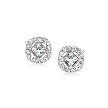 """Swarovski Crystal """"Angelic"""" Square Crystal Stud Earrings in Silvertone , , default"""