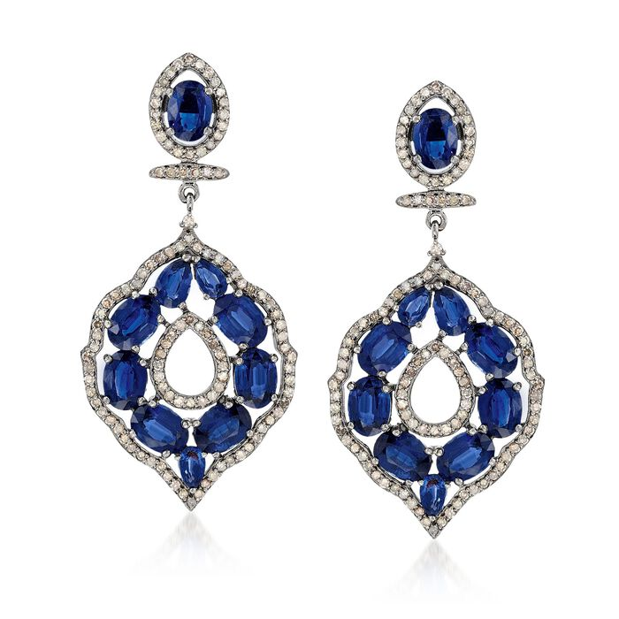 16.40 ct. t.w. Kyanite and 1.98 ct. t.w. Champagne Diamond Open Drop Earrings in Sterling Silver, , default