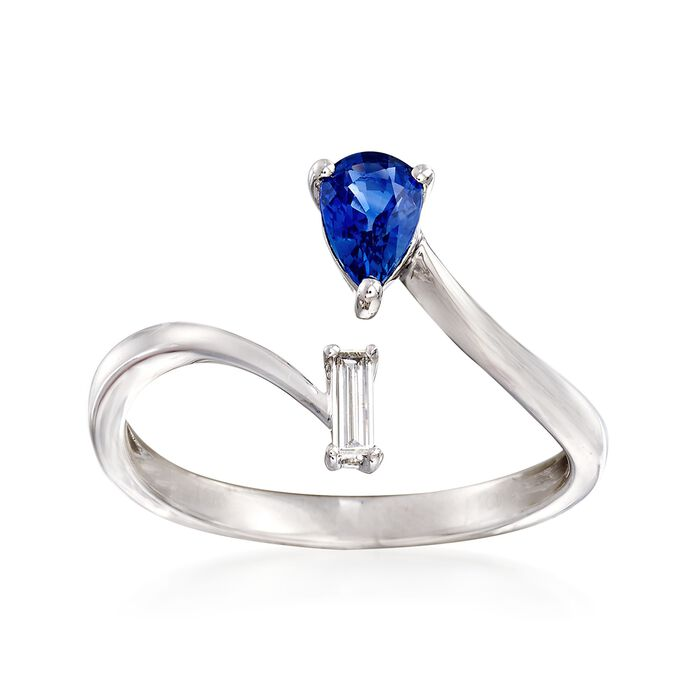 .40 Carat Sapphire Bypass Ring with Diamond Accent in 18kt White Gold. Size 7, , default
