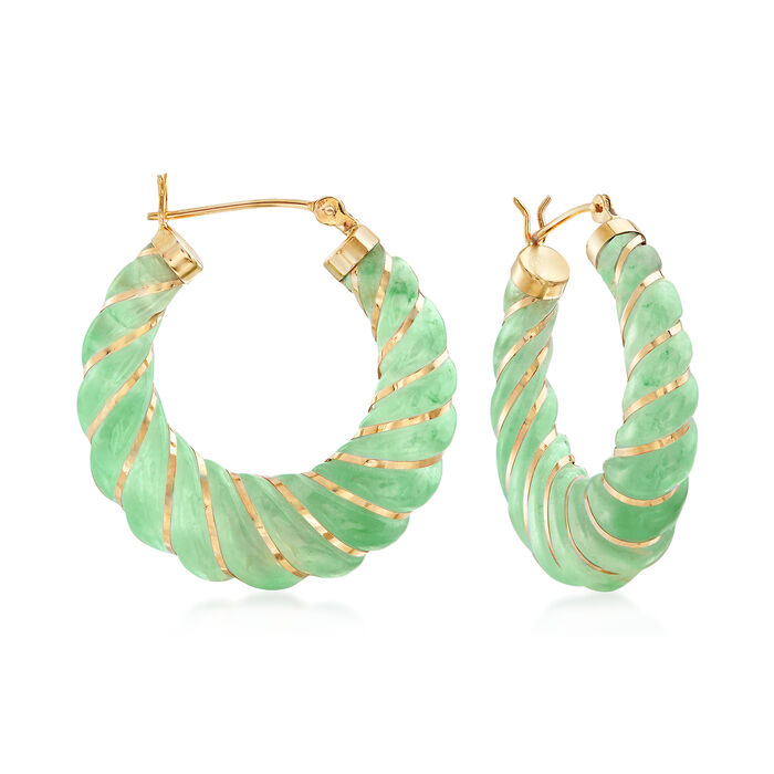 "Carved Green Jade Hoop Earrings with 14kt Yellow Gold. 1 1/8"", , default"