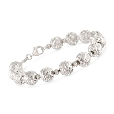 Italian 4mm and 10mm Sterling Silver Diamond-Cut and Polished Bead Bracelet