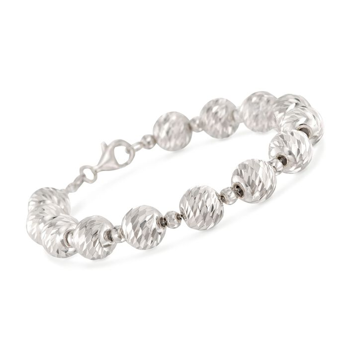 Italian 4mm and 10mm Sterling Silver Diamond-Cut and Polished Bead Bracelet, , default