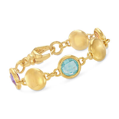Italian Andiamo 3.30 ct. t.w. Multi-Stone Disc Bracelet in 14kt Yellow Gold, , default
