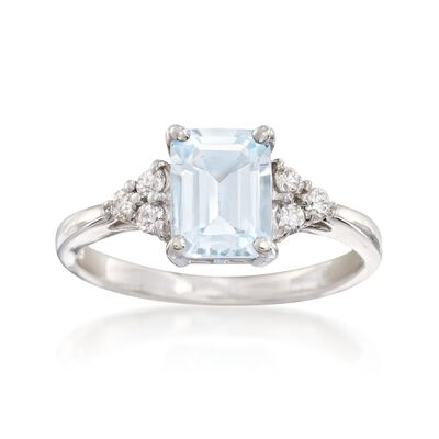 1.50 Carat Aquamarine and .20 ct. t.w. Diamond Ring in 14kt White Gold, , default