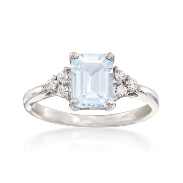 1.50 Carat Aquamarine and .20 ct. t.w. Diamond Ring in 14kt White Gold