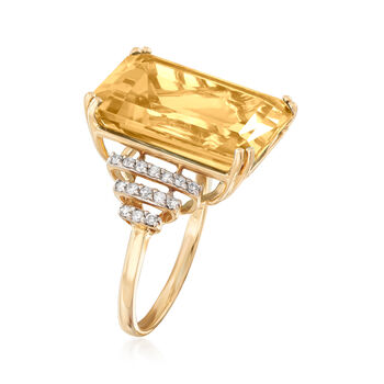 16.00 Carat Citrine and .25 ct. t.w. Diamond Ring in 14kt Yellow Gold, , default