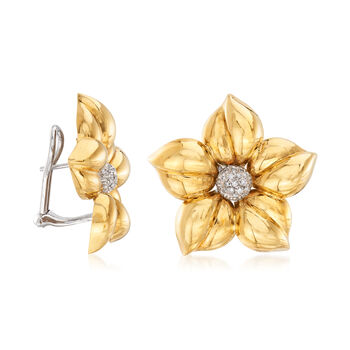 C. 1980 Vintage .25 ct. t.w. Diamond Flower Earrings in 18kt Yellow Gold, , default