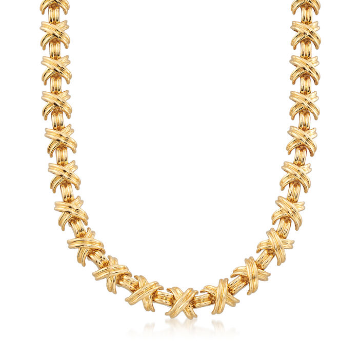 """C. 2000 Vintage Tiffany Jewelry """"Schlumberger"""" X-Necklace in 18kt Yellow Gold. 16"""", , default"""
