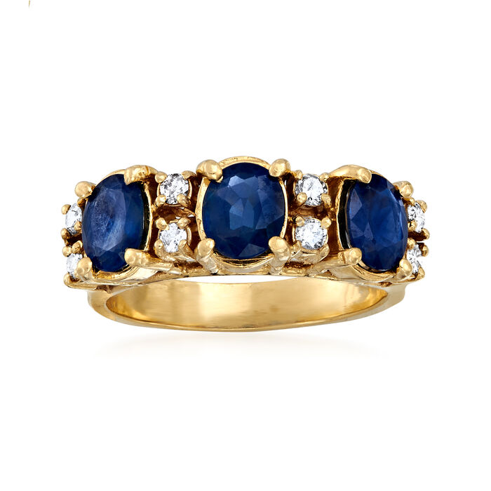 C. 2000 Vintage 2.00 ct. t.w. Sapphire and .24 ct. t.w. Diamond Ring in 14kt Yellow Gold. Size 6.25, , default