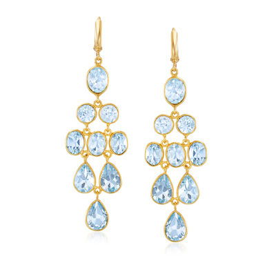 33.50 ct. t.w. Sky Blue Topaz Chandelier Earrings in 18kt Gold Over Sterling, , default