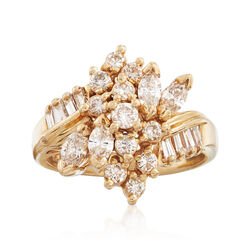 C. 1980 Vintage 1.65 ct. t.w. Diamond Cluster Ring in 14kt Yellow Gold. Size 8, , default