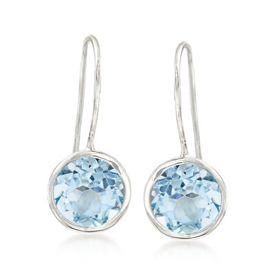 8.00 ct. t.w. Blue Topaz Drop Earrings in Sterling Silver