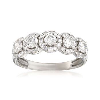 1.00 ct. t.w. Diamond Five-Stone Halo Ring in 14kt White Gold, , default
