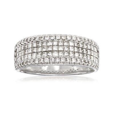 C. 1990 Vintage 2.05 ct. t.w. Diamond Multi-Row Ring in 18kt White Gold, , default