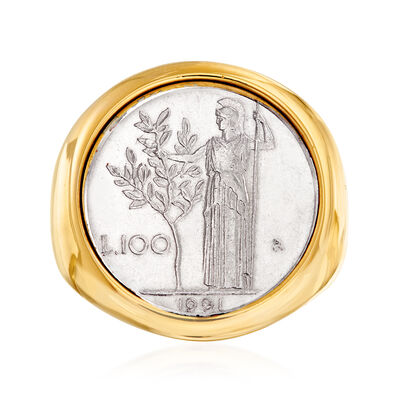 Italian Andiamo 14kt Yellow Gold 100-Lira Coin Ring