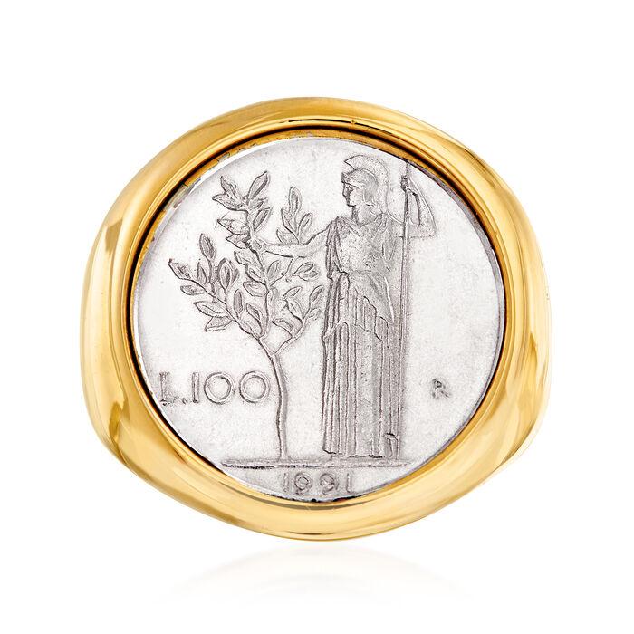 Italian Andiamo 14kt Yellow Gold 100-Lira Coin Ring