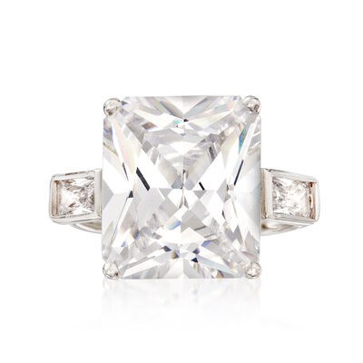 10.50 ct. t.w. Rectangular CZ Ring in Sterling Silver, , default