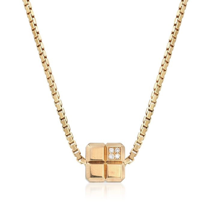 C. 1990 Vintage Chopard Square Slide Necklace with Diamond Accents in 18kt Gold