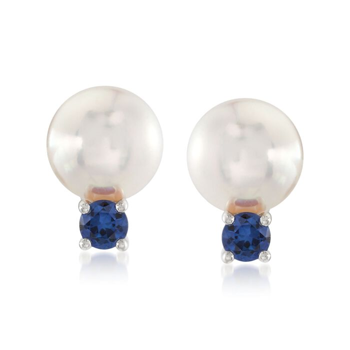 "Mikimoto ""Everyday Essentials"" 7.5-8mm A+ Akoya Pearl and .26 ct. t.w. Sapphire Earrings in 18kt White Gold , , default"