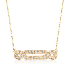 ".29 ct. t.w. Diamond Looped Bar Necklace in 14kt Yellow Gold. 18"", , default"