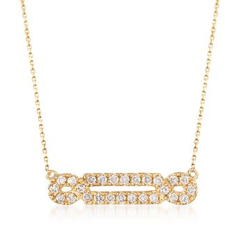 .29 ct. t.w. Diamond Looped Bar Necklace in 14kt Yellow Gold, , default