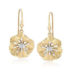 14kt Two-Tone Gold Lily Pad Earrings With Diamond Accents , , default