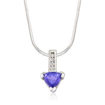 C. 1980 Vintage 1.75 Carat Tanzanite and .15 ct. t.w. Diamond Triangular Pendant Necklace in 14kt White Gold