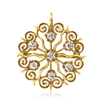 C. 1940 Vintage .75 ct. t.w. Diamond Sunburst Pin/Pendant in 14kt Yellow Gold