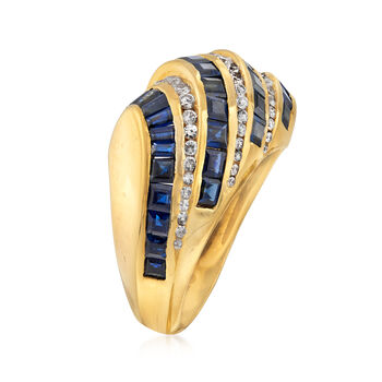 C. 1990 Vintage 2.75 ct. t.w. Sapphire and .60 ct. t.w. Diamond Diagonal Row Ring in 18kt Yellow Gold. Size 6