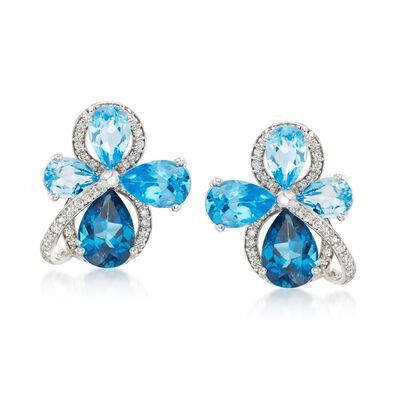 13.80 ct. t.w. Blue Topaz and .57 ct. t.w. Diamond Cluster Earrings in 14kt White Gold, , default