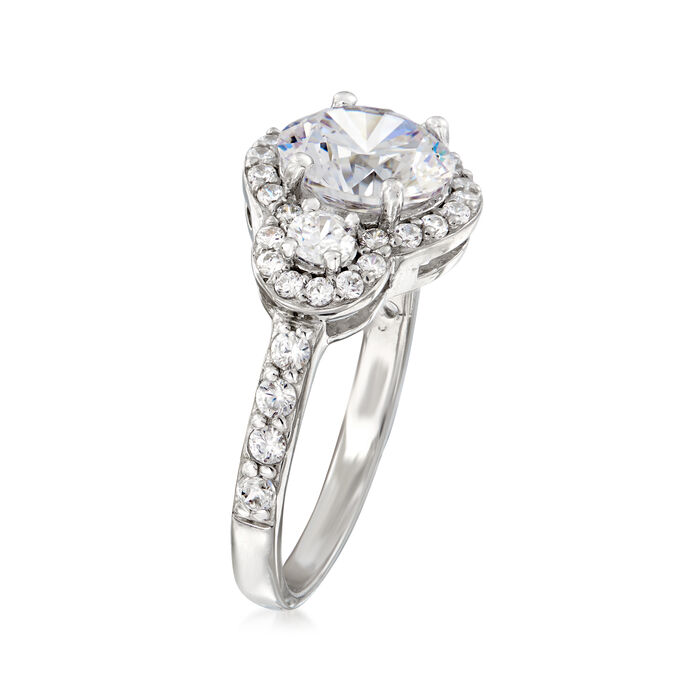 2.70 ct. t.w. CZ Three-Stone Ring in Sterling Silver
