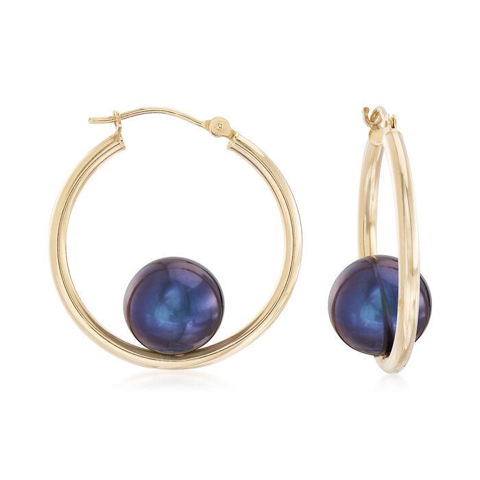 "10-10.5mm Black Cultured Pearl Hoop Earrings in 14kt Yellow Gold. 1"", , default"